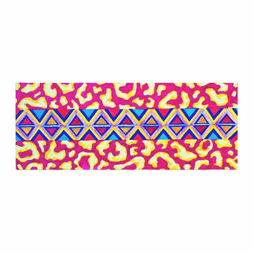 "Ebi Emporium ""The Tribal Leopard - Pink"" Pink Painting Bed Runner"
