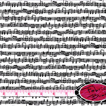 SHEET MUSIC Fabric by the Yard Half Yard or Fat Quarter MUSIC Notes Fabric Black & White Fabric Apparel 100% Cotton Quilting Fabric w1-15