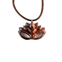 Lotus Pendant, Lotus Necklace, Lotus Flower Pendant, Lotus Flower Necklace, Wood Lotus Necklace, Namaste Pendant Lotus Jewelry, Yoga Jewelry