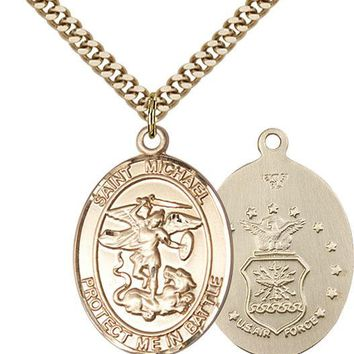 14K Gold Filled St Michael Air Force Military Soldier Catholic Medal Necklace 617759460568