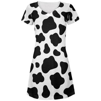 CREYCY8 Cow Pattern Costume All Over Juniors V-Neck Dress