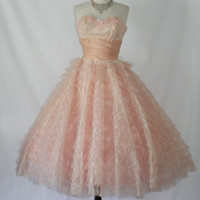 Delicious Vintage 1950's Pink and White by VintageFrocksOfFancy