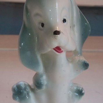 Vintage Porcelain Hound Dog Marked Japan, Vintage Porcelain Dog Figurine, Collectible Figurine