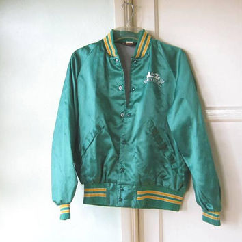 Men's XL/44-46 Vintage Green 'A-1 Towing' Bomber/Sport Style Jacket; Retro Tow DriverJacket by Pla-Jac Dunbrooke; U.S. Shipping Included