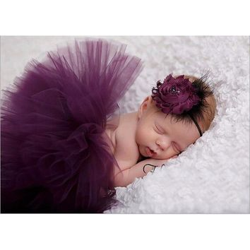 Baby Girl Tulle Tutu Skirt & Flower Headband Set / 10 Color choices