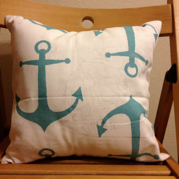 14 by 14 inch blue and white anchor throw pillow