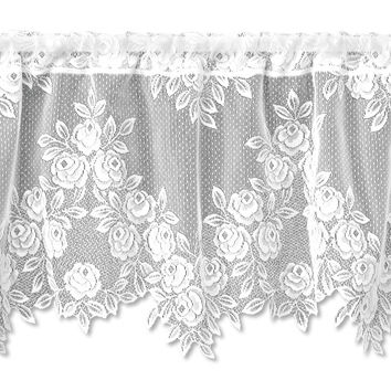 Tea Rose 60X17 Valance, White