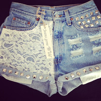 New High waited denim short with lace and studs