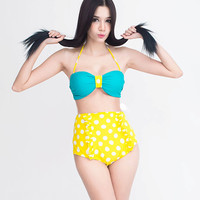 Turquoise Bandeau Top and Yellow with White Polka Dot dots High waisted HW Shorts Bottom Bikini set Bathing suit suits Swimsuit Swimwear S M