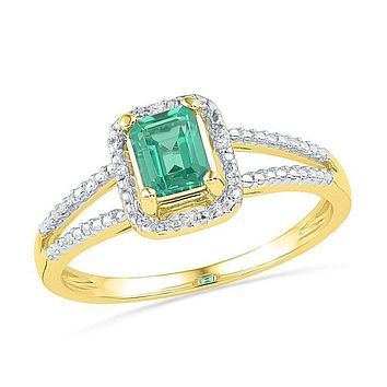 10kt Yellow Gold Women's Lab-Created Emerald Solitaire Diamond Split-shank Ring 1-1/2 Cttw - FREE Shipping (US/CAN)