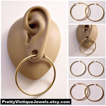 """Monet 1 1/2"""" Thin Tube Ring Hoops Pierced Post Stud Earrings Gold Tone 38mm Vintage Large Round Open Smooth Polished"""