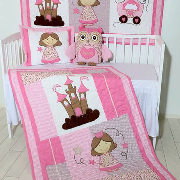 Princess Quilts, Reversible, Handmade Baby Bedding, Wall Hanging, Applique  Blanket, Wall Quilt, Pillowcase, Owl Pillow