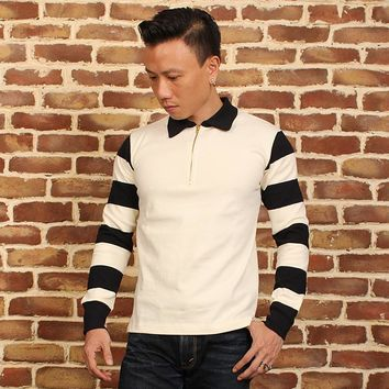 New arrival black and white stripe color vintage pullover t-shirt vintage motorcycle rider stripe long-sleeve T-shirt