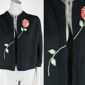 Vintage 60s Sweater / 1960s Black Cardigan with Asymmetrical Floral Applique S M L