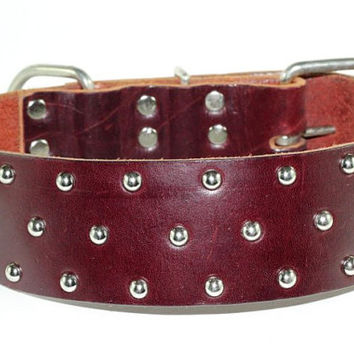"2"" Brown Leather Dog Collar - Leather Dual Layer Dog Collar - Studded Brown Leather Dog Collar"