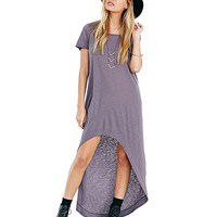 Short Sleeve Asymmetric Maxi Shift Dress