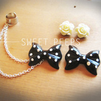 Black Polka Dot and White Rose Flower Stud Silver Ear Cuff Set