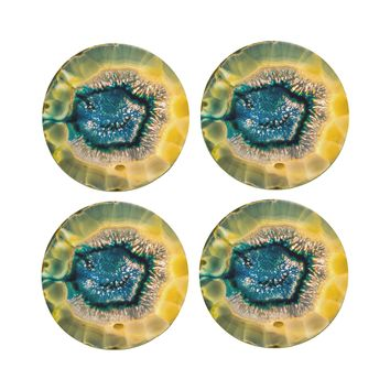 "4"" Dia Blue Agate Coasters Made From Recycled Rubber"