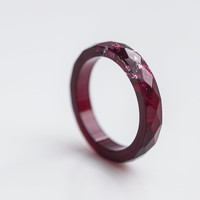 Purple Resin Ring Stacking Ring Silver Flakes Size 8 Faceted Ring OOAK dark deep burgundy geometric jewelry rusteam