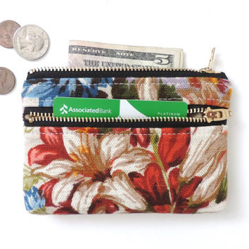 Linen Wallet Coin Purse Double Zipper Pouch Floral Lily