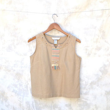 Vintage Linen Embroidered  Sleeveless Crop Top Blouse  Southwest Detail