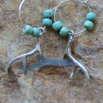 Antler Earrings - Deer Antler Earrings - Hoop Earrings - Turquoise Earrings - Carico Lake turquoise - Woodland Fashion - gift under 25