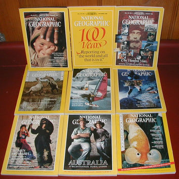 Vintage National Geographic magazines, 1987-1988 Anniversary, Choose a commemorative magazine with that special date for a special gift