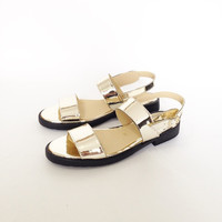 Olympia Vegan Leather Chunky Sandals in Gold Mirror