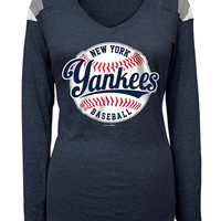 New York Yankees T-Shirt - Heather Navy Blue Yankees Baseball Long Sleeve V-Neck
