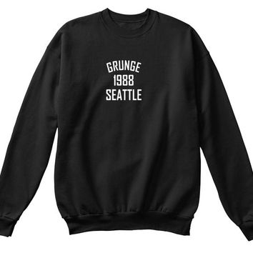 Grunge 1988 Seattle Black  Navy T Shirt