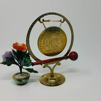 Vintage Etched Brass Dinner Gong Meditation Gong Made in India