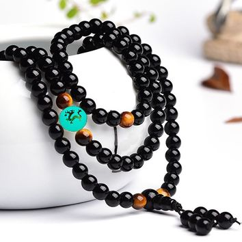 Chinese Dragon 108 black Obsidian Beads necklace Bracelet Strand Handmade Buddha Bangles Glow in the Dark bracelet man woman