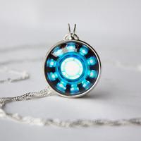 Handmade Iron Man, Tony Stark Arc Reactor inspired glass cabochon dome pendant necklace