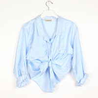 Vintage 1980s Shirt Powder Light Blue Windbreaker Lightweight DVF Designer Blouse 80s Top Diane Von Furstenberg Button Down M Medium L Large