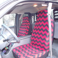 Reserved for Ashley Singleton 1 Set of Seat Covers and Steering Wheel Cover Black and Red Chevron Custom Made