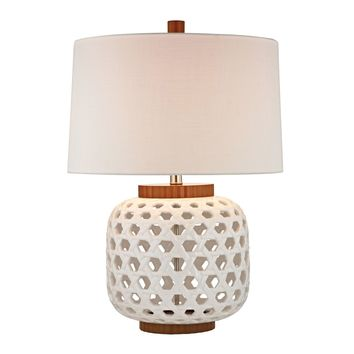 Woven Ceramic Table Lamp in White And Wood Tone White,Wood Tone