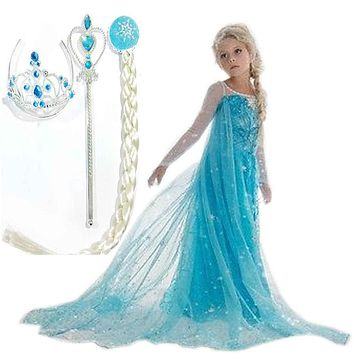Hot Custom Anna Elsa Girls Princess Children Summer Gilrs Dress Cloth Vestidos Infants Dress Baby Dresses Children Cosplay Cloth
