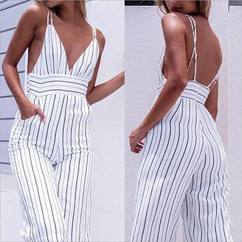 Sexy Summer Striped Club wear V-Neck Play suit Sleeveless Party Jumpsuit