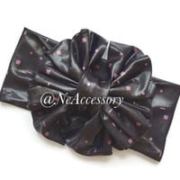 Black Turban Head Wrap, Black Faux Leather Bow Head  wrap,  baby shower gift, big bow head wrap