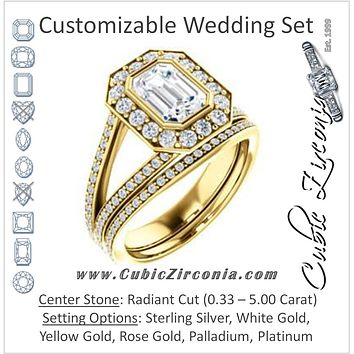 CZ Wedding Set, featuring The Maricela engagement ring (Customizable Bezel-Halo Radiant Cut Ring with Wide Tapered Pavé Split Band & Decorative Trellis)