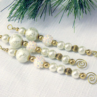 Ivory and Gold Bead Icicle Ornaments - old fashioned Christmas decor