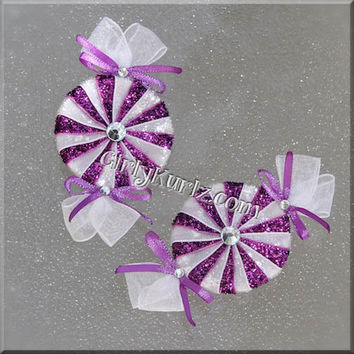 GLITTER Ultra Purple Peppermint Candy Hair Bow Doc McStuffins Hair Bow