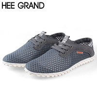 HEE GRAND Men Summer Flats Fashion Casual Breathable Mesh Shoes for Men Simple Fashion Shoes Drop Shipping 584