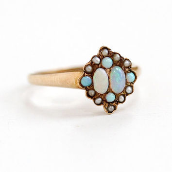 Antique 10k Rosy Yellow Gold Opal & Seed Pearl Ring- Vintage Size 8 Late 1800s Victorian Era Fiery Gemstone Fine Jewelry