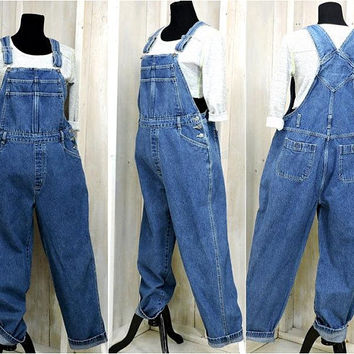 90s overalls / size M / L / womens bib overalls / denim overall jeans / wide leg / loose fit / Cherokee
