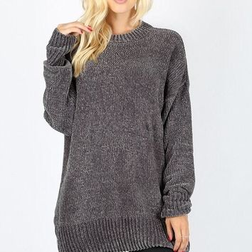 Velvet Yarn Crew Neck Sweater - Ash Gray