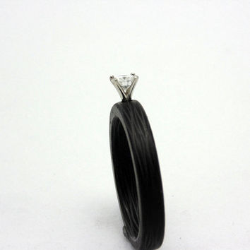 Carbon fiber ring ethical Diamond Engagement white gold setting