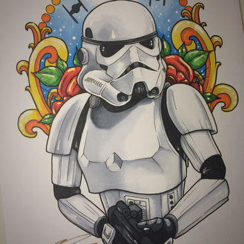 Star Wars - Stormtrooper Tattoo Drawing (Original) (11x14in)