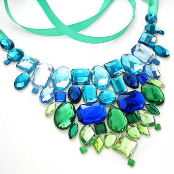 Variegating Blue and Green Rhinestone Statement Necklace, Sparkling Jewel Deco Bib, Holiday Party Fashion