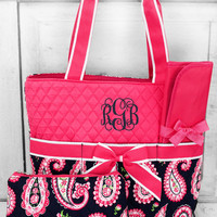 PAISLEY PASSION QUILTED DIAPER BAG WITH HOT PINK